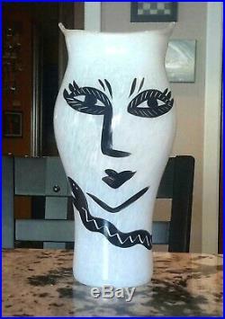 Kosta Boda Extremely Rare Large 14 White Open Minds Glass Vase Art Work Mint