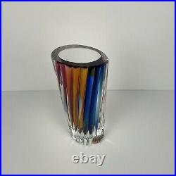 Kosta Boda Fluted Rainbow Crystal Vase Signed by Goran Warff 10