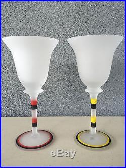 Kosta Boda Frosted Art Glass Goblet Set Ulrica Hydman Vallien My Love For You