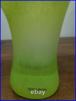 Kosta Boda Funghi Art Glass Vase Green 8.25 Signed Ulrica HV 40117