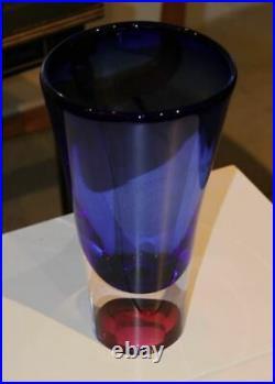 Kosta Boda GORAN WARFF ARTIST'S CHOICE Blue Vase Signed Glass ZOOM Serries