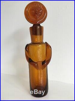 Kosta Boda Glass Decanter Bottle People Erik Hoglund Signed Amber H326