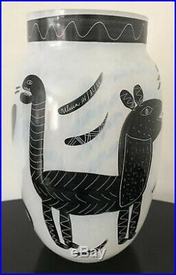 Kosta Boda Glass Painted Vase Caramba Ulrica Hydman-Valliens 8.25 Mint