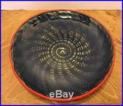 Kosta Boda Glass Plate Dish by Bertil Vallien Peacock Series Design Large 14