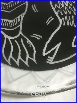 Kosta Boda Glass Platter Fish Design by Ulrica Hydman Vallien signed