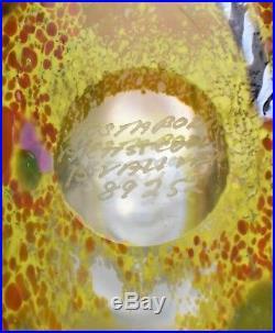 Kosta Boda Glass Satellite Bottle Bertil Vallien Vase Signed