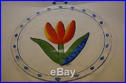 Kosta Boda Glass Tulipa Tulip Platter Lot 2 Uhv Ulrica Hydman-vallien Handpaint