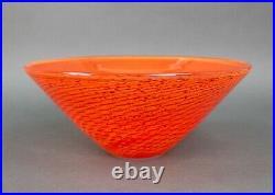 Kosta Boda Goran Warff Art Glass Crystal Orange Speckled 8 1/2 Bowl