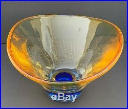 Kosta Boda Goran Warff Signed Amber and Cobalt Blue Art Glass Bowl 50206