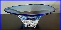 Kosta Boda Goran Warff Signed Cobalt Blue Art Glass Bowl 7050395 11.5x4 Mint