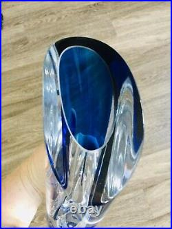 Kosta Boda Goran Warff Signed Saraband Art Glass Vase Blue