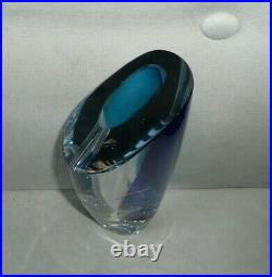Kosta Boda Goran Warff Signed Saraband Art Glass Vase Blue LAKE LAS VEGAS RESORT