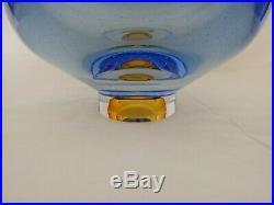 Kosta Boda Goran Warff Zoom Blue Amber Art Glass Oval Bubble 7-1/8 BOWL NEW