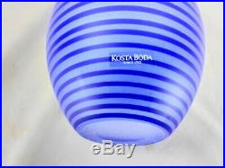 Kosta Boda Gunnel Sahlin Spiral Swirl Blue Vase 10 1/4 Inches Tall 49902