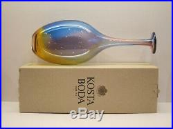 Kosta Boda Kjell Engman Art Glass Bottle Blue Cognac & Pink # 48838 Boxed