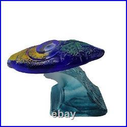 Kosta Boda Kjell Engman Art Glass Surfboard on Wave Sculpture Rare
