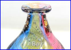 Kosta Boda Kjell Engman Glass Bottle Fidji Blue Purple Yellow