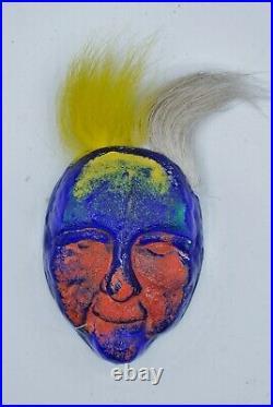 Kosta Boda. Kjell Engman. Hanging Art Object Colored Head With Hair