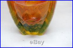Kosta Boda. Kjell Engman. Huge Vase Rioin Orange And Green. 27 CM