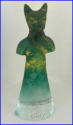 Kosta Boda Kjell Engman Well Collection Cat Figurine Sculpture Art Glass Sweden