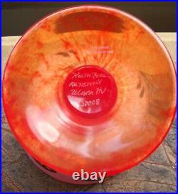 Kosta Boda OPEN MINDS Orange Glass Bowl on Pedestal Woman's Face Ulrica Hydman