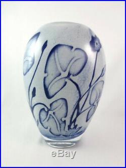 Kosta Boda Olle Brozen Floating Flowers Art Glass Vase Blue White 8 3/4 Signed