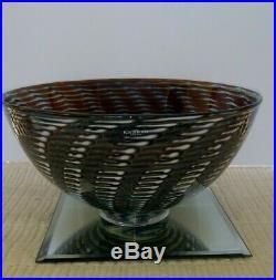 Kosta Boda Peacock Large 5.5 x 11 Bowl Art Glass Bertil Vallien Sweden 7050221