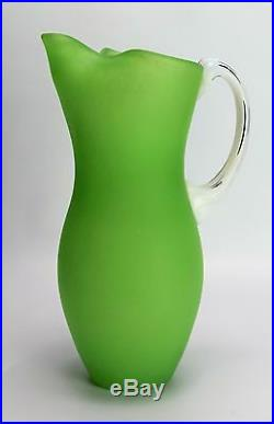 Kosta Boda Pitcher Frosted Glass Lime Green Jug Gunnel Sahlin