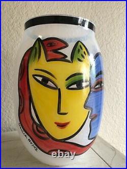 Kosta Boda Rare Ulrica Hydman-vallien Large Limited Edition Vase Open Minds