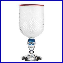 Kosta Boda Red Rim Brains Footed Vase (White)