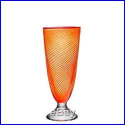 Kosta Boda Red Rim Vase (Footed, Orange)