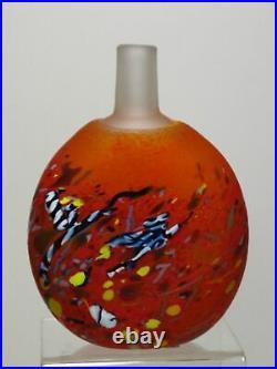 Kosta Boda Red Satellite Moon Flask Vase Bertil Vallien LE 1000 Excellent