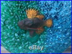 Kosta Boda Reef Collection Fish Out Of Water Blue Bottle Vase Kjell Engman