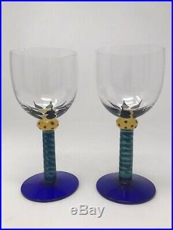 Kosta Boda S/2 Ken Done Wine Glasses Mint Condition Rare