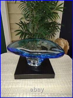 Kosta Boda Sapphire Goran Warff Blue Pedestal Centerpiece Bowl 12 Signed NEW