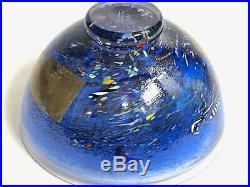 Kosta Boda Satellite Series Swedish Art Glass Blue Bowl Signed Bertil Vallien 8