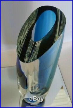 Kosta Boda Seaside Vase Cobalt Blue Turquoise & Clear by Goran Warff SIGNED 9.5