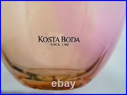 Kosta Boda Signed Fidji Kjell Engman Rainbow Swedish Art Glass Vase #48837