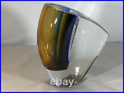 Kosta Boda Signed Goran Wharff Mirage Art Glass Vase. Colour Blue. Stunning