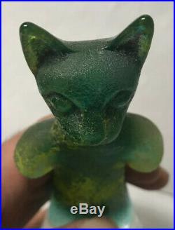 Kosta Boda Signed Kjell Engman Well Collection Cat Figure Art Glass Sweden