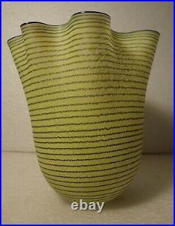 Kosta Boda Signed Ulrica Hydman Vallien Art Glass Handkerchief Ribbon Vase