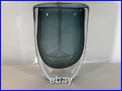 Kosta Boda Signed Vicke Lindstrand Thick Walled Smokey Blue Glass Vase. Lovely