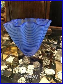 Kosta Boda Small Vintage Signed 4.5 Blue Swirl Bowl Signed