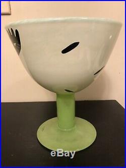 Kosta Boda Sweden Open Minds Green Footed Glass Vase By Ulrica Hydman Vallien