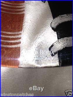 Kosta Boda Sweden Tonga 11 3/4 Oval Platter Stripes Signed By Monica Backstrom