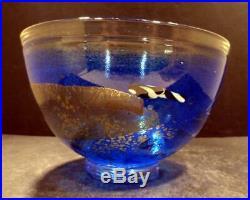 Kosta Boda Swedish Art Glass Blue Bowl, Signed by Bertil Vallien MINT
