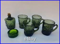 Kosta Boda Swedish Glass by Erik Hoglund, 6 Pieces, Adam and Eve Figures, Green