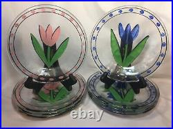 Kosta Boda TULIP Plates 7 1/2 Pink and Blue Ulrica set of 8, signed, sticker