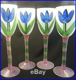 Kosta Boda Tulipa / Tulip 10 Water / Wine Signed Set of 4