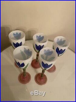 Kosta Boda Tulipa / Tulip 10 Water / Wine Signed Set of 5